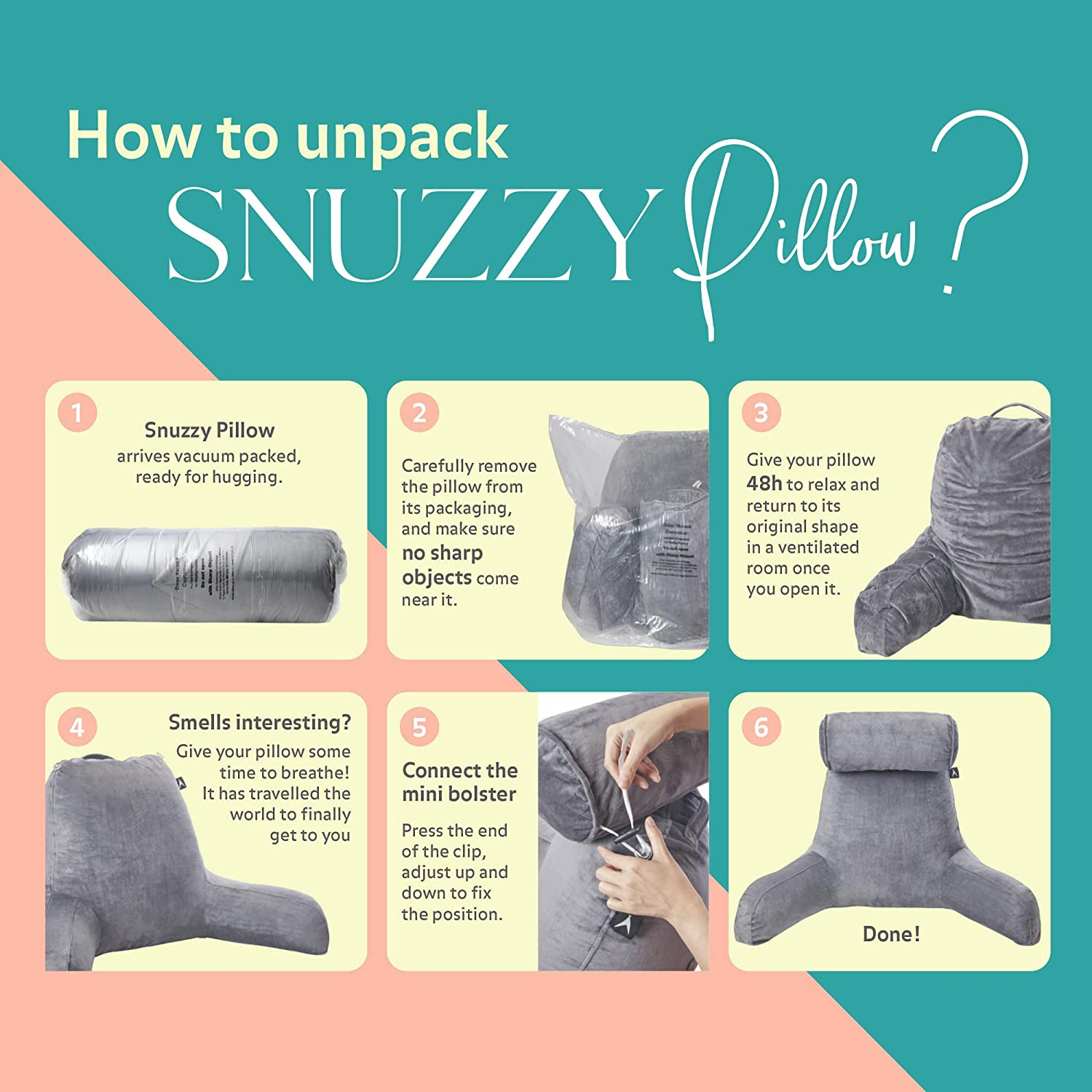 ATX Snuzzy Pillow - Bed Reading Pillow with Arms - Backrest for Sitting Up in Bed - Watching Tv, Gaming, Studying, Working - Extra Large Size for Adults: Home & Kitchen