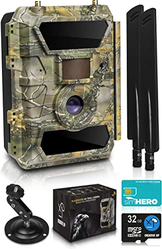 CreativeXP LTE 4G Cellular Trail Cameras Outdoor WiFi Full HD Wild Game Camera with Night Vision for Deer Hunting, Security – Wireless Waterproof and Motion Activated 32GB SD Card Sim Card