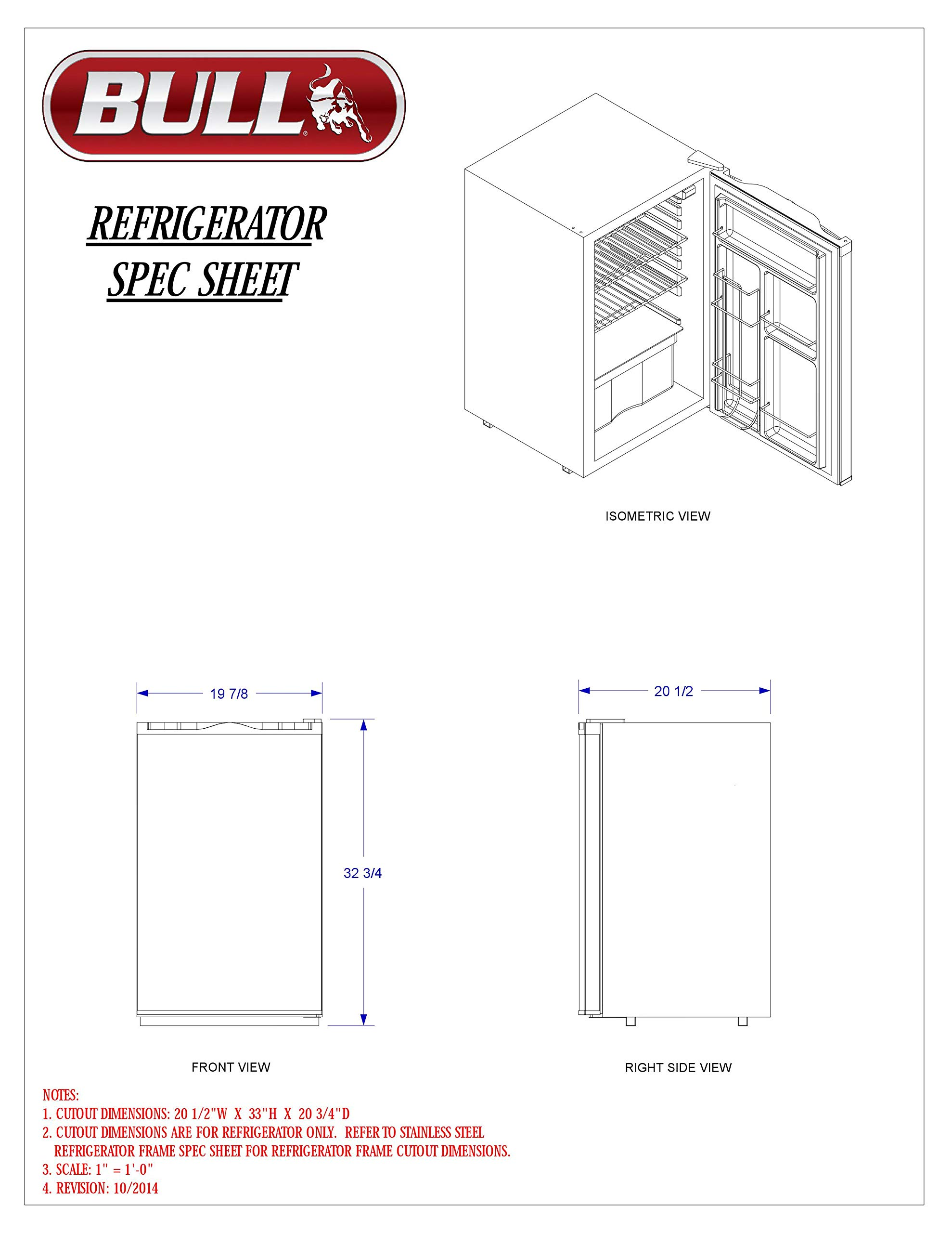 Bull Outdoor Products 11001 Stainless Steel Front Panel Refrigerator by Bull