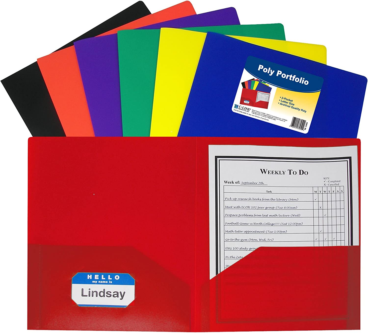 File Folders with Info Pocket Letter Size Pack of 36 Assorted Colors