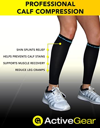 Hilly Pulse Unisex Blue Compression Running Sports Calf Support Sleeve