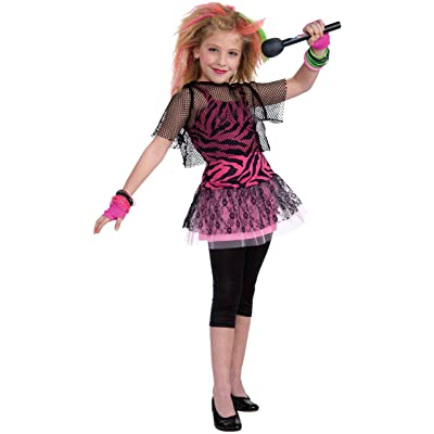 Forum Novelties 80's Rock Star Child Girl's Costume, Large: Toys & Games