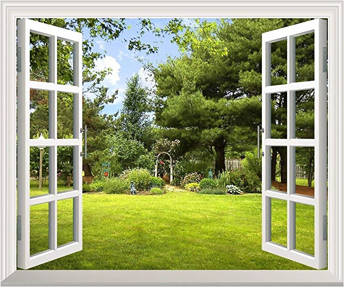 "Removable Wall Sticker/Wall Mural -Beautiful Garden View Out of The Open Window Creative Wall Decor - 24""x32"""