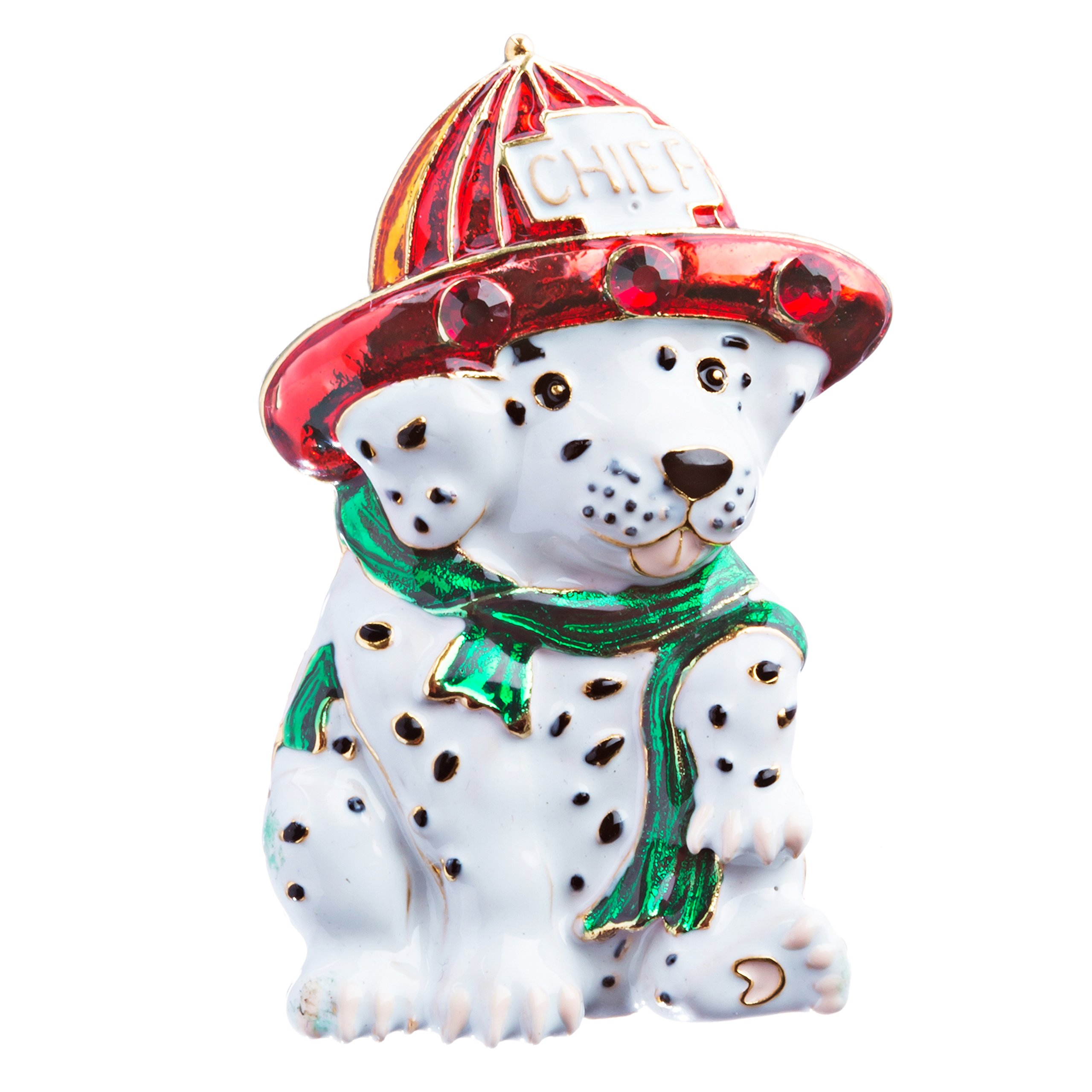 ACCESSORIESFOREVER Women Christmas Jewelry Crystal Rhinestone Holiday Chief Puppy Dog Brooch Pin BH129