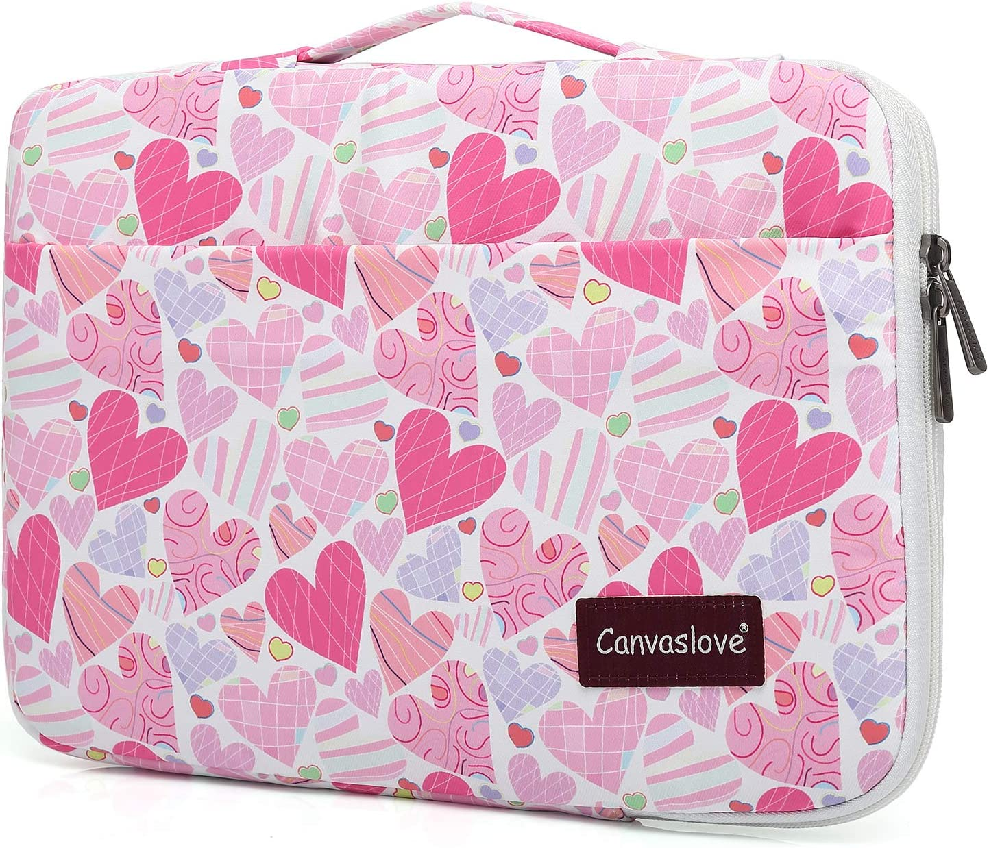 Canvaslove Loving Pattern Waterproof Corner and Bottom Rebound Bubble Cushioned Laptop Sleeve Case with Handle and Pockets for 15 Inch and 15.6 Inch Laptop