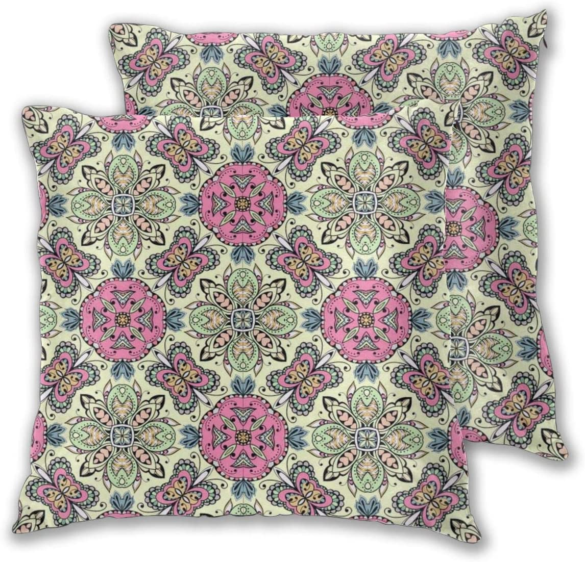 MOONLIT DECAYED Bohemian Psychedelic Mandala Decorative Throw Pillow Covers, Stain-Resistant Soft Solid Square Cushion Cases for Couch Sofa Bedroom Kid¡¯s Room Car Office, 22x22 Inches