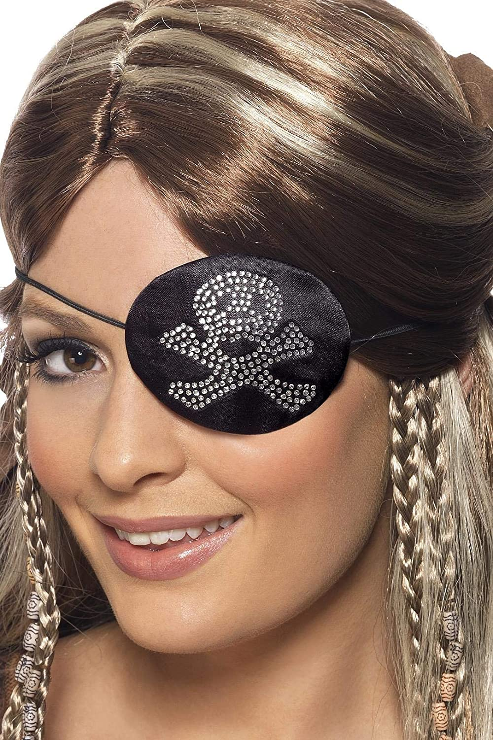 Gold and Red Accessory Pirate Eye Mask Fancy Dress Black