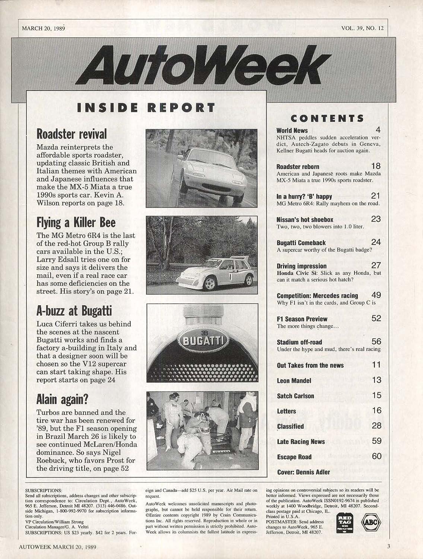AUTO WEEK Mazda MX-5 Miata MG Metro 6R4 Bugatti Honda Civic Si 3/20 1989 at Amazons Entertainment Collectibles Store