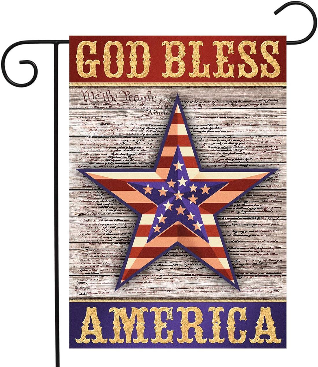 "Briarwood Lane God Bless America Star Patriotic Garden Flag Rustic Fourth of July 12.5"" x 18"""
