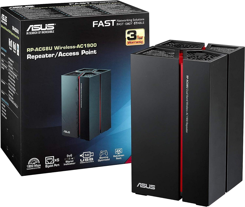 ASUS RP-AC68U - Repetidor Inalámbrico AC1900 Dual-Band (ASUS Expressway, 5 Puertos Gigabit Ethernet, USB 3.0)