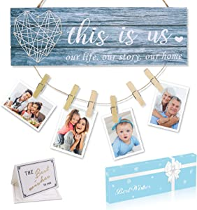 Home Decor Signs Housewarming Gifts -This Is Us- Home Sign for Rustic Farmhouse Wall Living Room with Clips and Twine for Photo Hanging, Gifts for Housewarming New Homeowners
