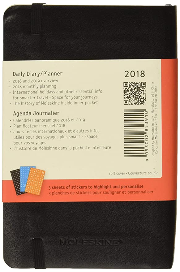 Moleskine Classic 12 Month 2018 Daily Planner, Soft Cover, Pocket (3.5