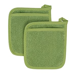 Ritz Royale Collection 100% Cotton Terry Cloth Pocket Mitt Set, Dual-Function Hot Pad/Pot Holder, 2-Piece, Cactus Green