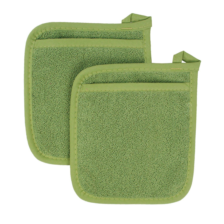 Ritz Royale Collection 100% Cotton Terry Cloth Pocket Mitt Set, Dual-Function Hot Pad / Pot Holder, 2-Piece, Cactus Green