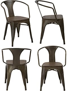 amazon com lch industrial metal wood top stackable dining chairs
