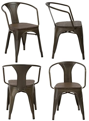 BTEXPERT 5060MCC-4 Distressed Dining Bistro Cafe Industrial Metal Antique Copper Bronze Indoor Outdoor Rustic, Arm Chair