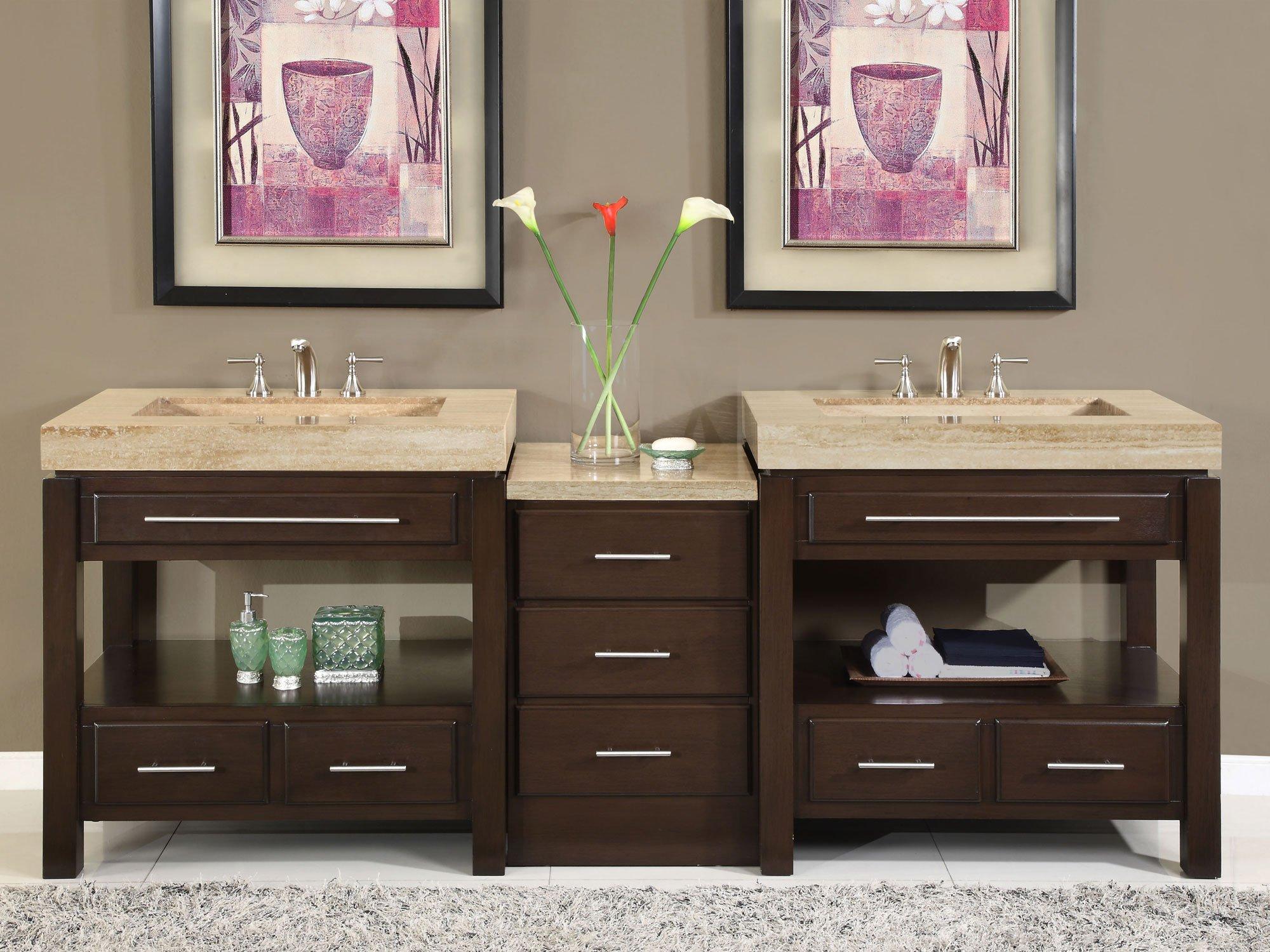 Silkroad Exclusive Countertop Travertine Stone Ramp Double Sink Bathroom Vanity with Cabinet, 92-Inch