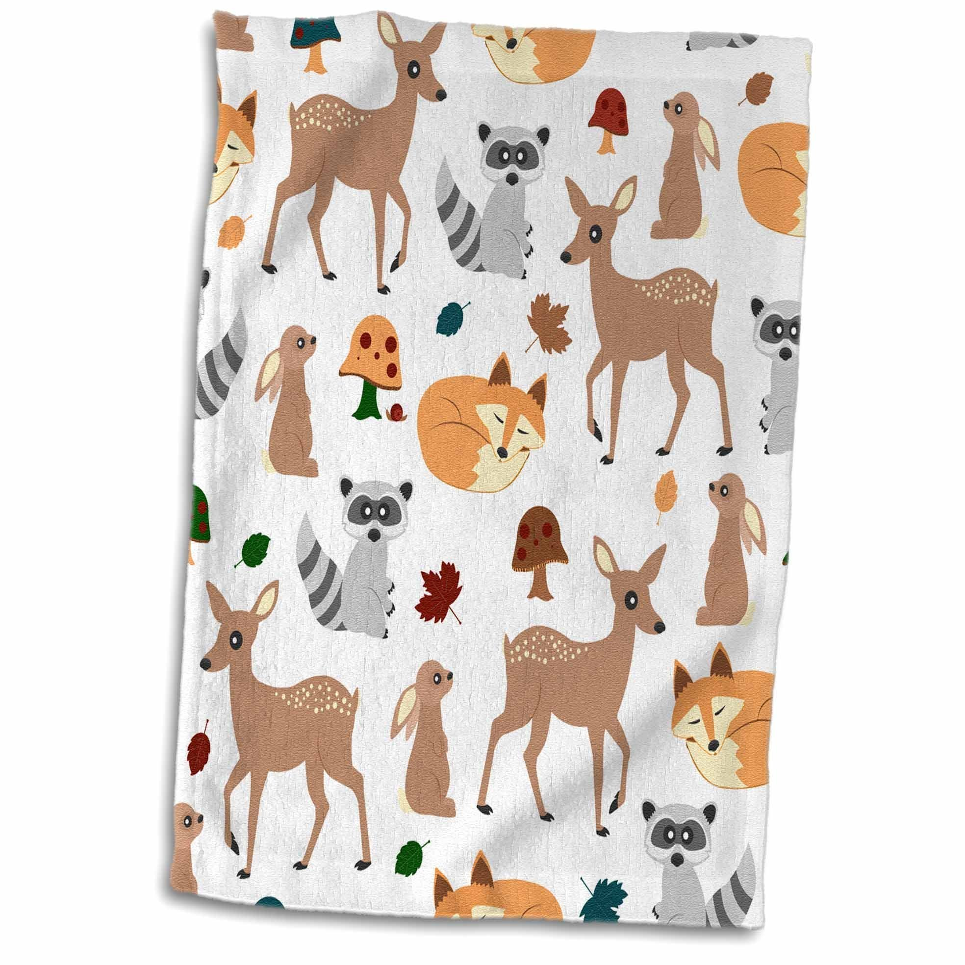 3D Rose Woodland Animals Pattern-Fawn Fox Raccoon Rabbit Hand Towel, 15'' x 22''