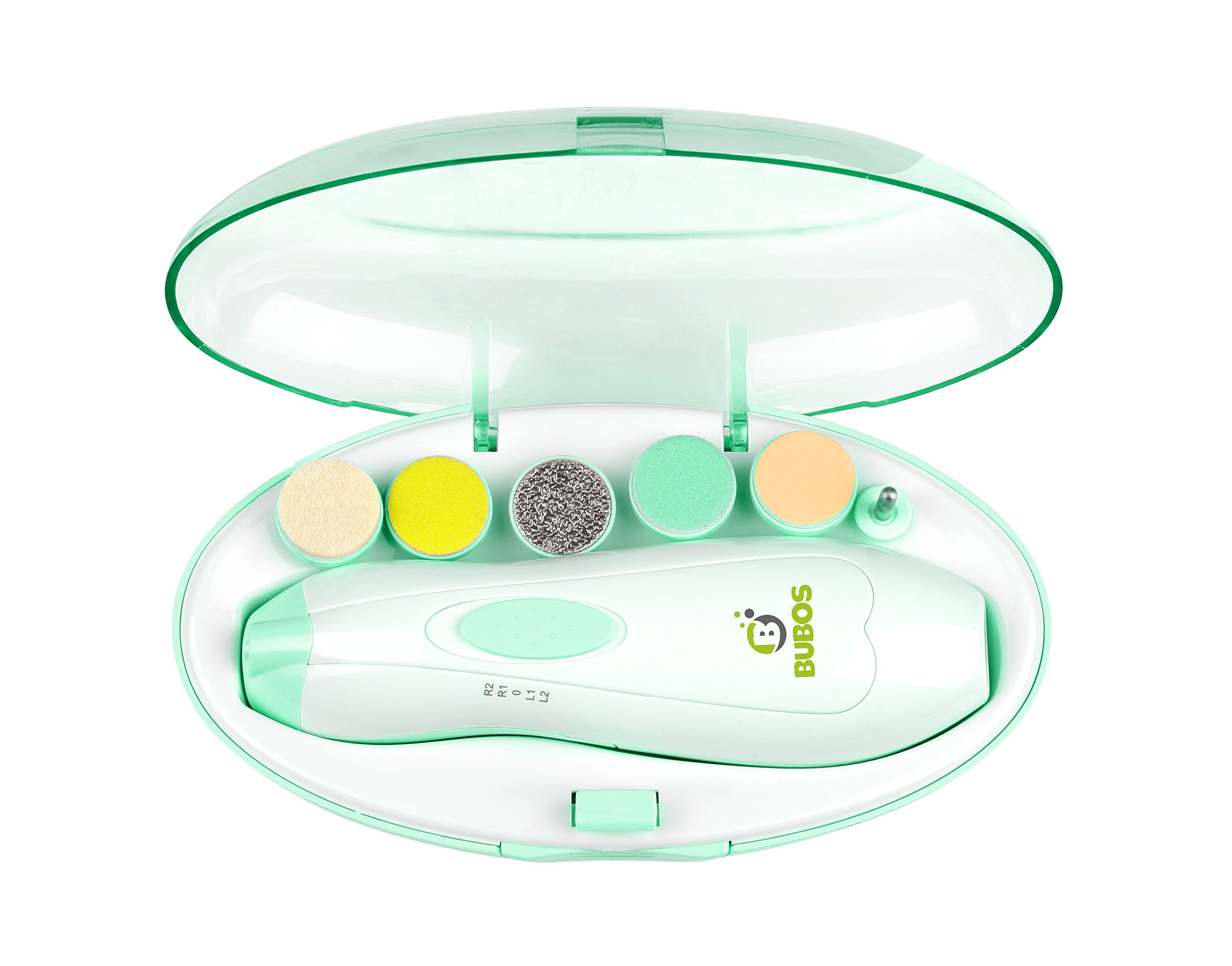 Bubos Baby Nail File Electric Manicure Set - Safe Baby Nail Clippers & Trimmer with LED Light, Toes Fingernails Care Trim Polish Grooming Kit for Newborn Infant Toddler Kids or Women