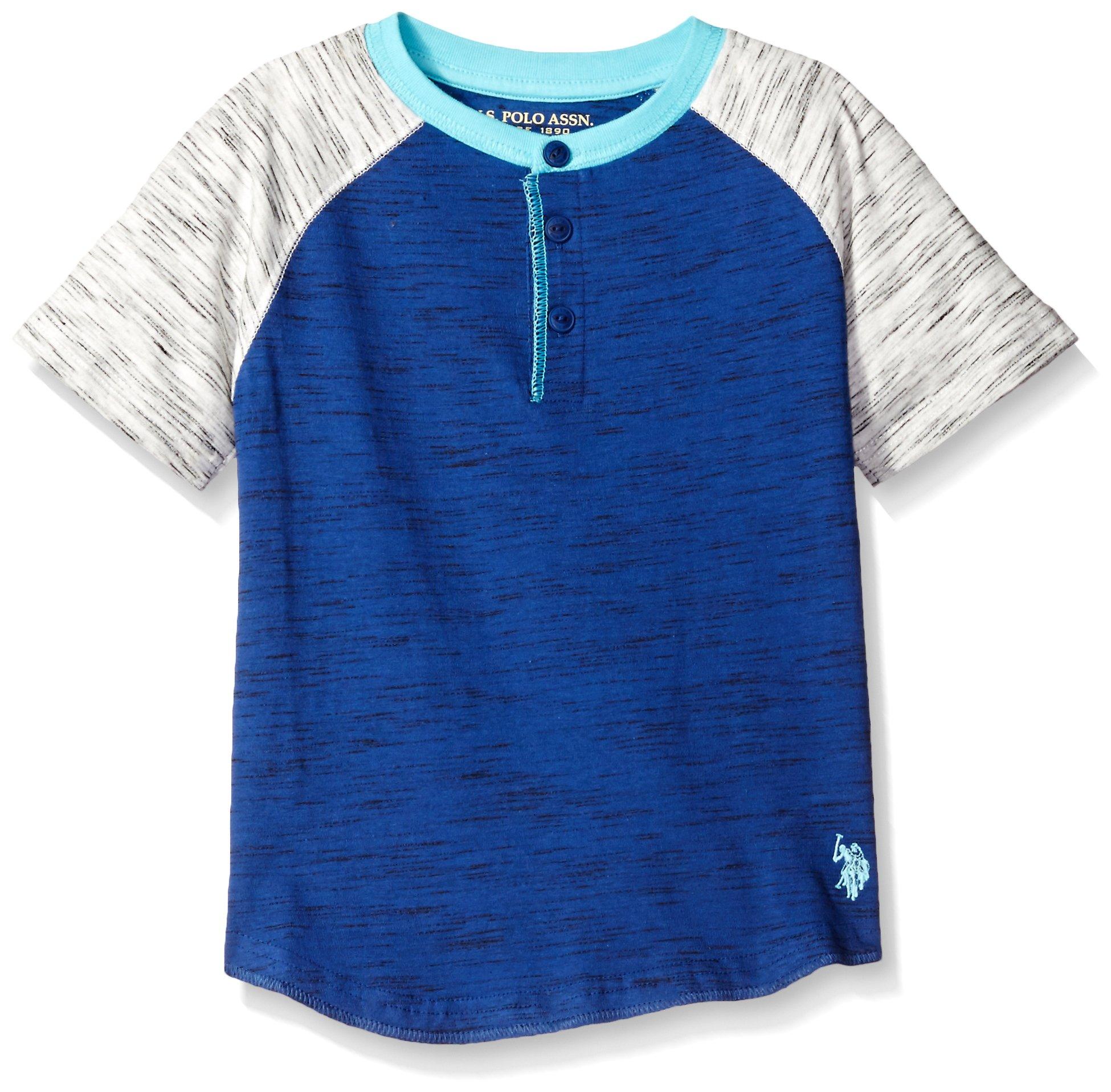 U.S. Polo Assn. Boys' Short Sleeve Henley,Marina Blue Injeaction H5HA26IAV,5/6