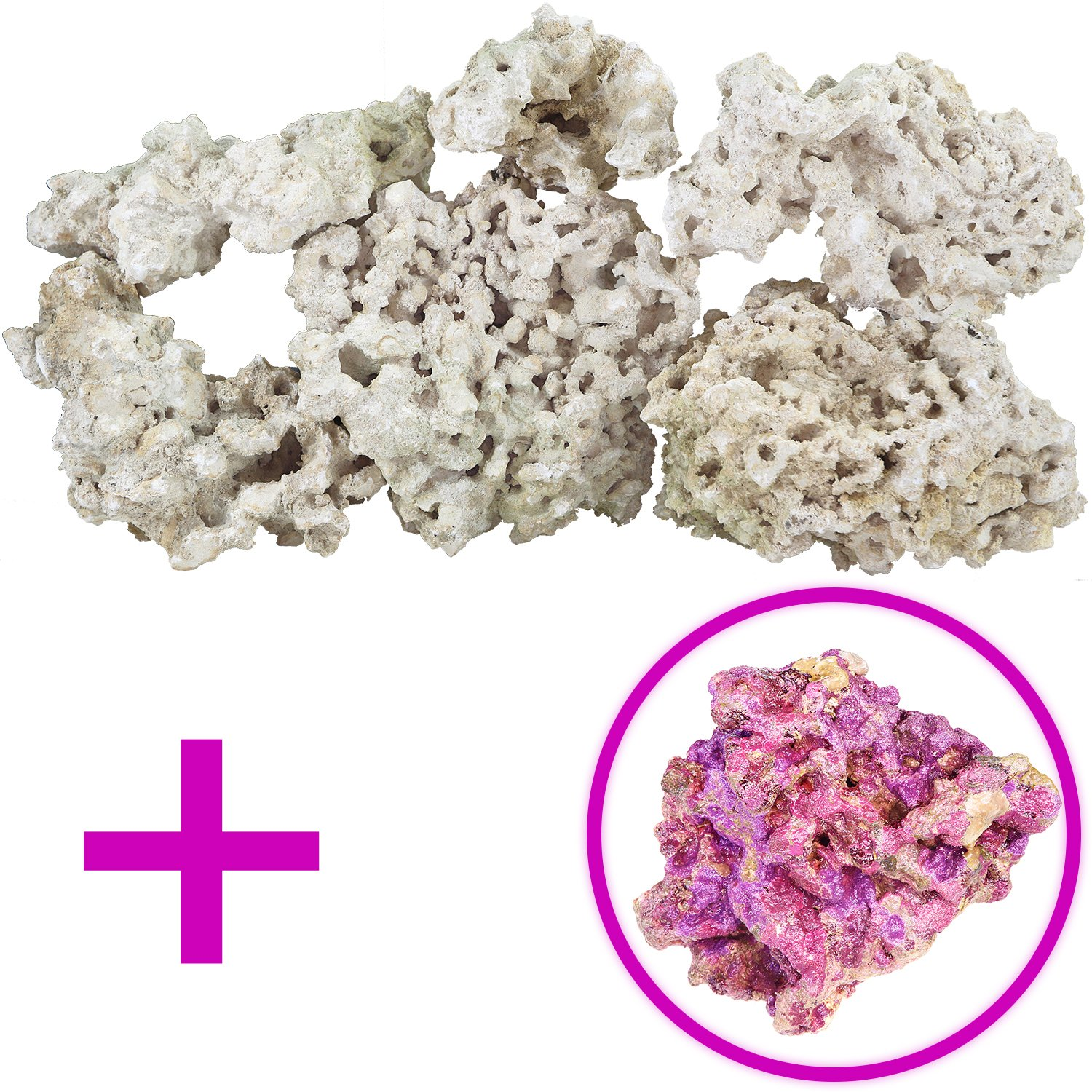 Dry Base Rock With Coralline Algae Bonus Rock For Saltwater Aquariums, 25 lbs.