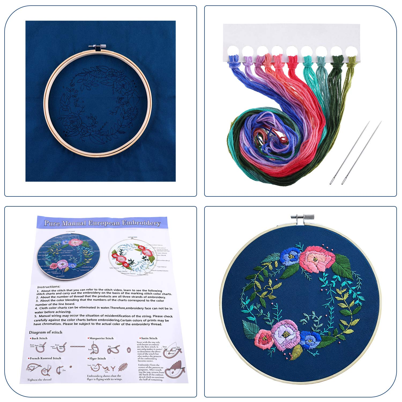 Zhanmai Rose Embroidery Kit Cross Stitch Art Kit Handmade Embroidery Starter Kit for Handicraft Works