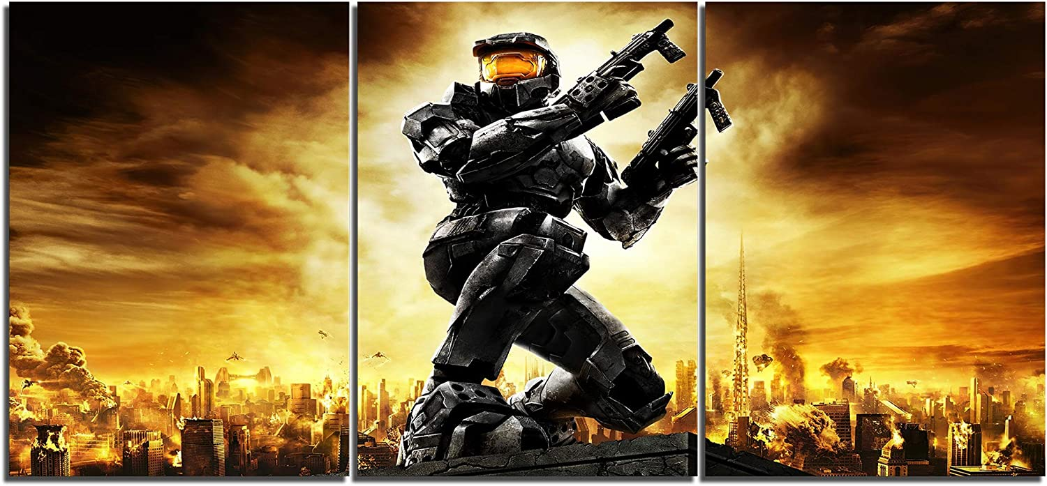 Classic Halo The Master Chief Art Canvas Posters Home Decor Wall Art Framework 3 Pieces Paintings for Living Room HD Prints Pictures B(L,No Framed)