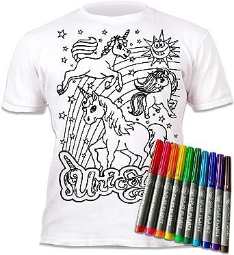 Splat Planet Camiseta Unicornio para niñas. con impresión para Pintar y Colorear. Incluye 6 Colores mágicos Lavables. Cumpleaños Infantil 7-8 años.: Amazon.es: Ropa y accesorios