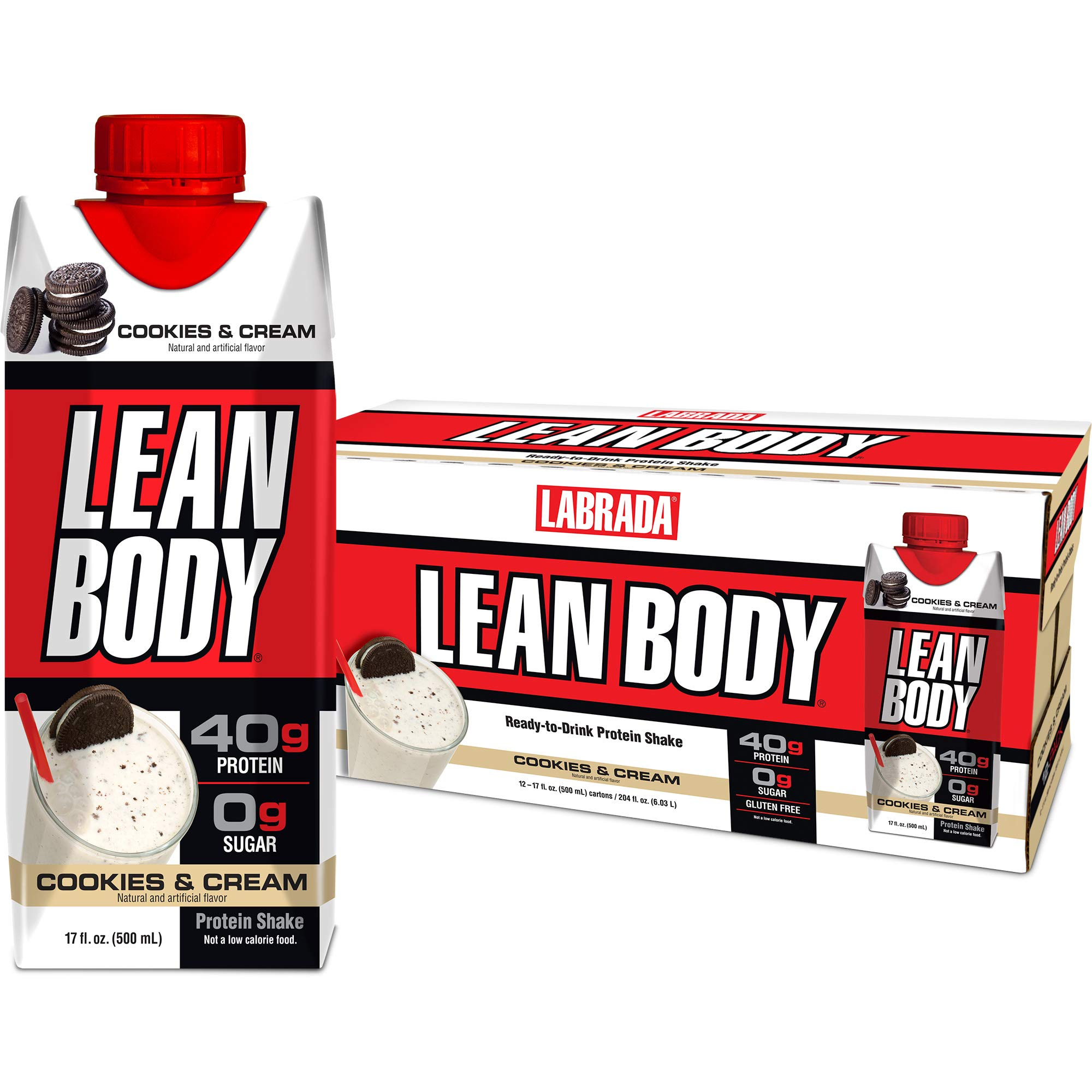 LABRADA - Lean Body Ready to Drink Protein Shake,Convenient On-The-Go Meal Replacement Shake,40 Grams of Protein -Zero Sugar, Lactose & Gluten Free,Cookies and Cream, 17 Fl Oz (Pack of 12) by Labrada