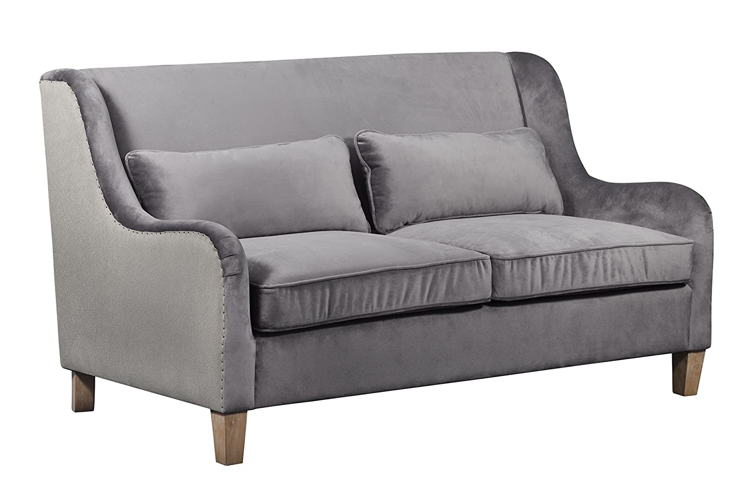 Elle Decor Wingback Two-Toned Sofa, Gray