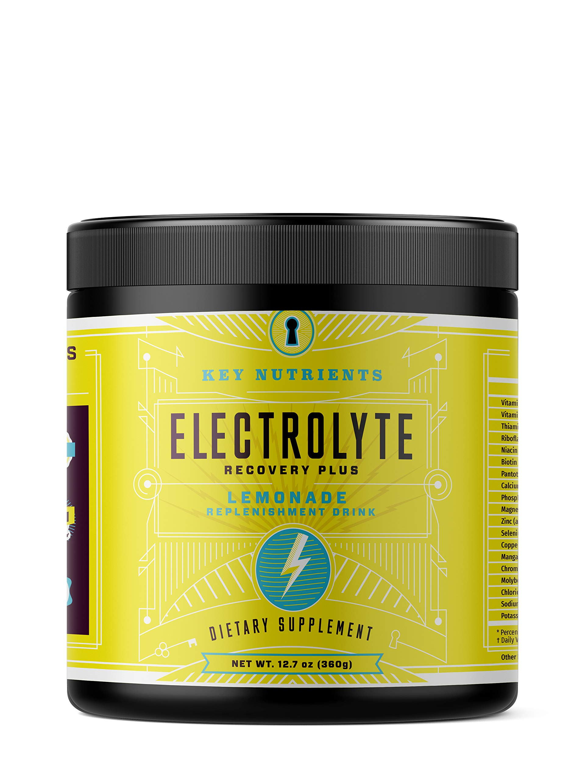 Electrolyte Powder, Lemonade Hydration Supplement: 90 Servings, Carb, Calorie & Sugar Free, Delicious Keto Replenishment Drink Mix. 6 Key Electrolytes - Magnesium, Potassium, Calcium & More. by KEY NUTRIENTS