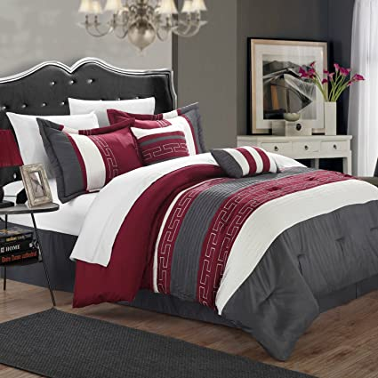 Ordinaire King Size Hotel Collection Comforter Set In Burgundy / Gray Color Block  With Geometric Patterns