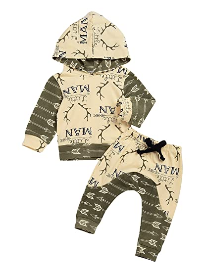 Baby Boys Outfit Winter Shower Deer Print Hoodie with Pants Set Leggings 2pcs (80(