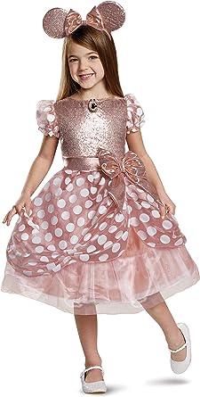 Disfraz de Minnie de oro rosa de lujo para niños, Dorado, Small ...