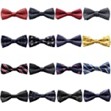 LOLIAS 16 Packs Elegant Adjustable Pre-Tied Bow Ties for Men Boys Mixed Color Assorted Ties