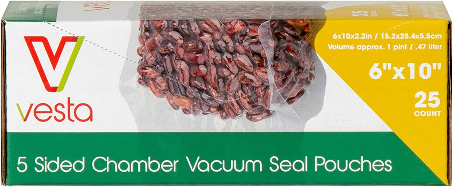 5-sided Chamber Vacuum Sealer Bags by Vesta Precision | Side Gusseted Vacuum Seal Pouches | Ideal for Liquids | 6 x 10 x 2.17 inches | 25 Bags per Box | FOR CHAMBER SEALERS ONLY