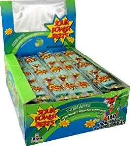 Sour Power Wrapped Belts, Green Apple, Individually Wrapped Belts, 52.9 Ounce (Pack of 150) (29126133683)