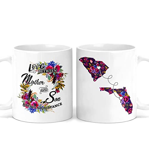 Amazon Com Long Distance Mother And Son Mug Mother S Day Gift For Mom Mom Birthday Gift Coffee Mug Happy Mothers Day Gifts States And Countries Personalized Mug M0491 Handmade