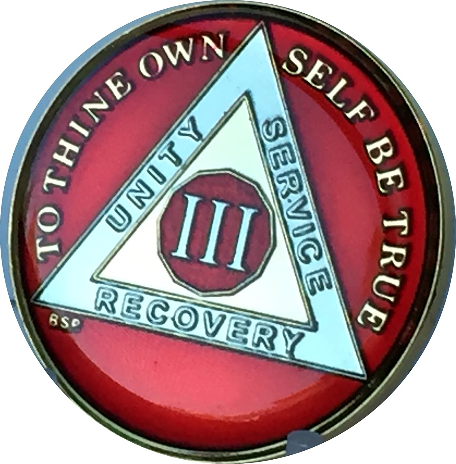 AA BSP Red Gold 23 Year Coin Tri-Plate Alcoholics Anonymous Medallion Top Grade