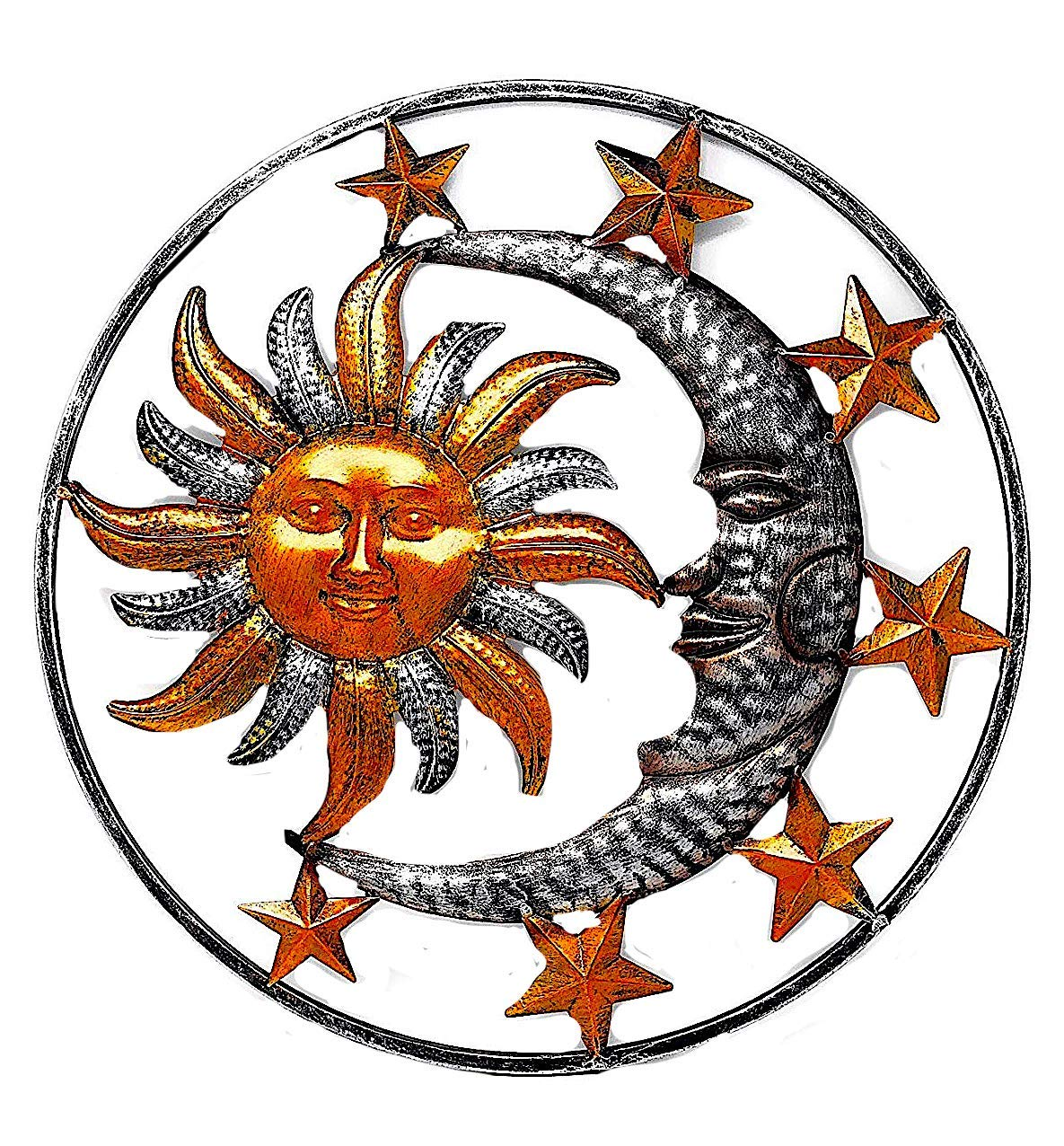 "Large Metal Sun Moon Star Wall Art Sculpture Decor for Indoor Outdoor (17"" Diameter)"