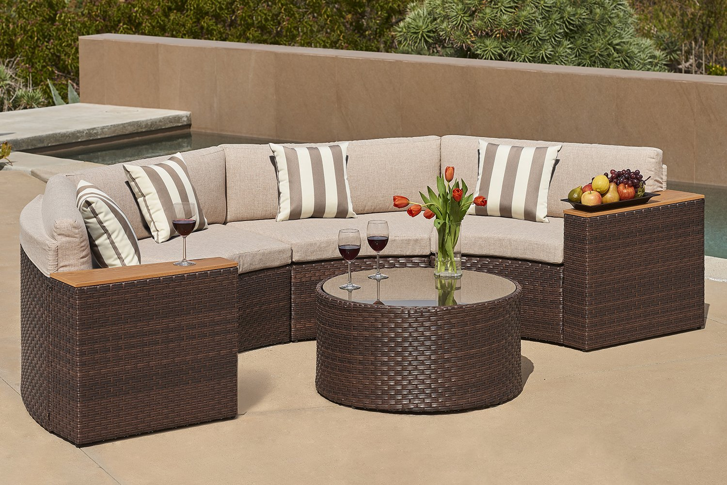 Solvista Outdoor 5-Piece Half-Moon Crescent Sectional Furniture Set All Weather Brown Wicker with Light Brown Waterproof Cushions & Sophisticated Glass Coffee Table | Patio, Backyard, Pool
