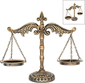 OwlGift Vintage Style Metal Libra Jewelry Display, Scale Tray Cosmetic Organizer, Jewelry Storage, Unique Centerpiece Stand – Bronze