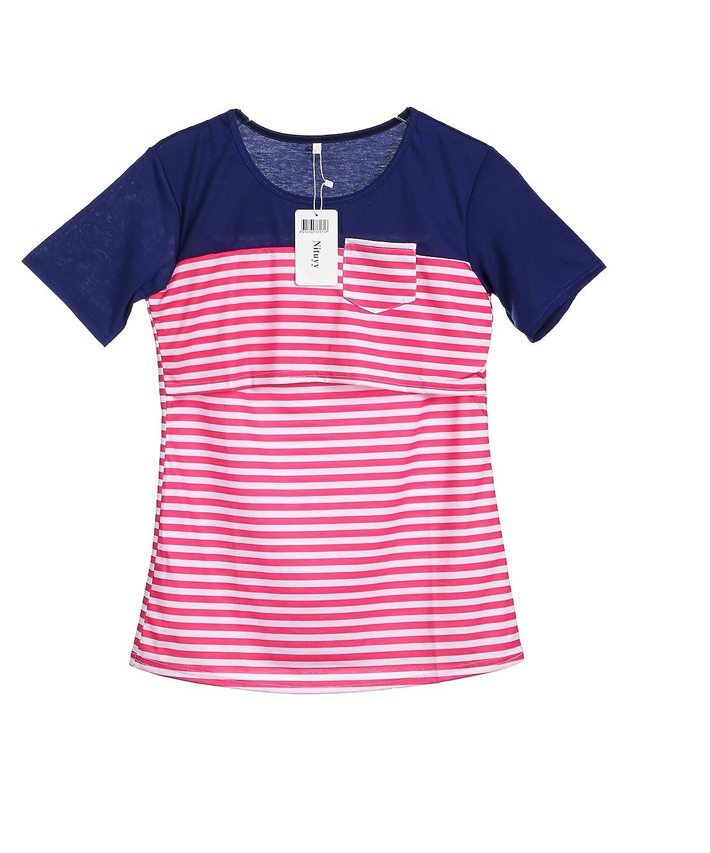 e380aeb4c01 Nituyy Women Breastfeeding Shirt Striped Patchwork Short Sleeve Maternity  Breastfeeding and Nursing Tops larger image