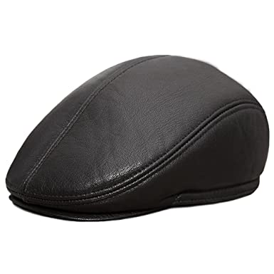 81b276fec94aa4 Image Unavailable. Image not available for. Color: bestfur Men's Sheepskin  Genuine Leather Flat Newsboy Cap Driving Cabby Hat