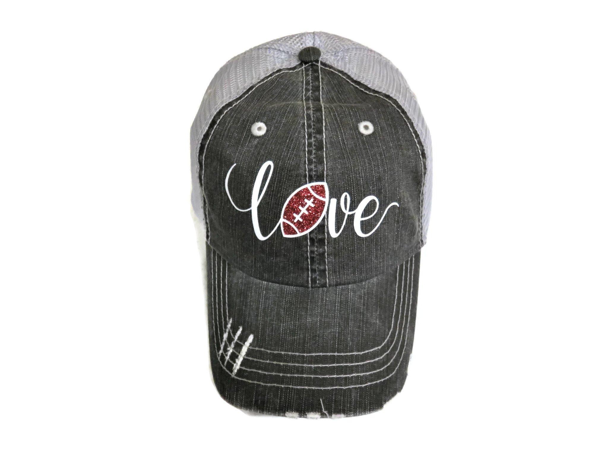 White/Brown Glitter Football Love Distressed Look Grey Trucker Cap Hat Sports