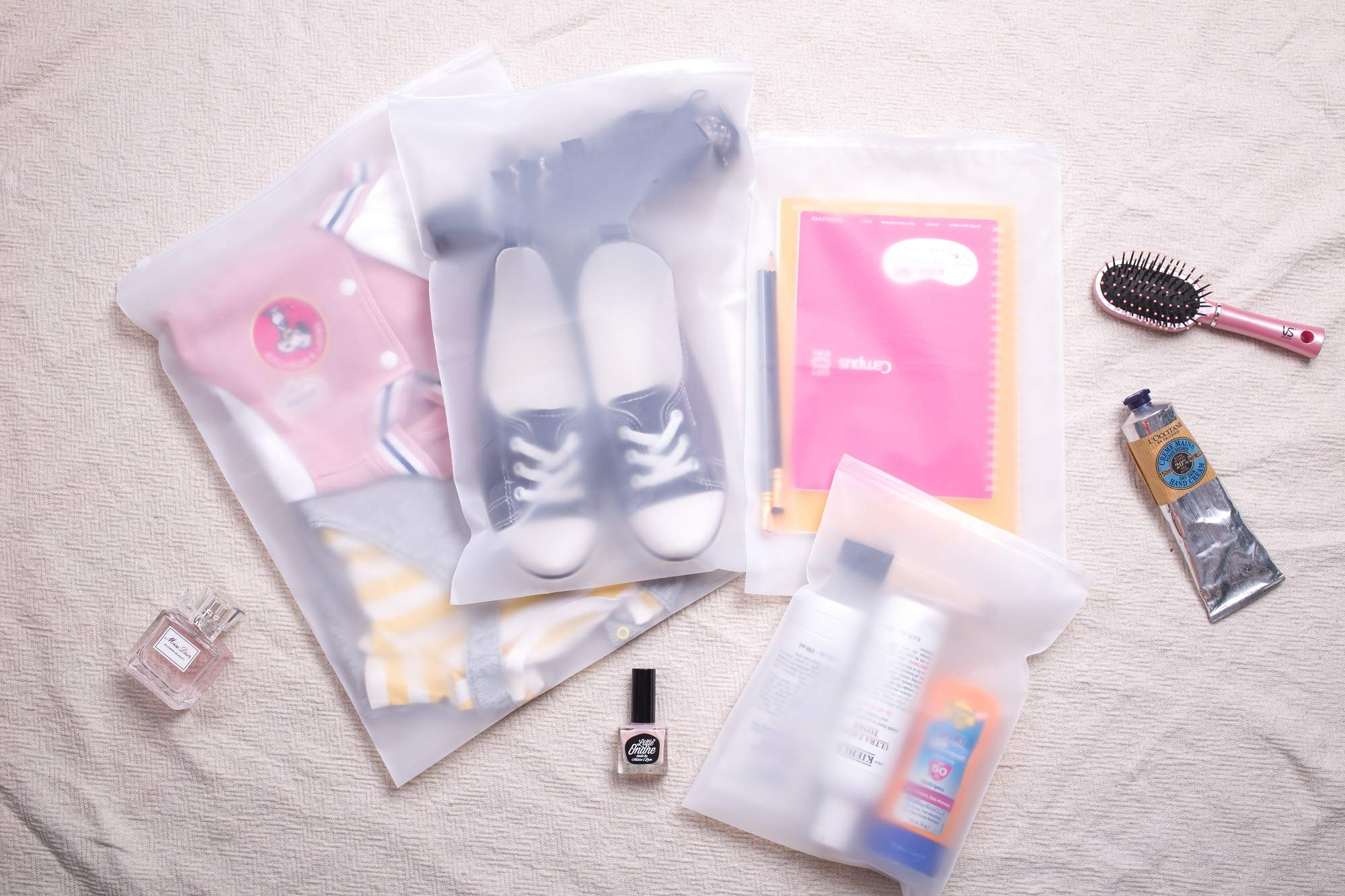 Lazyaunti Packing Bags Travel Zipper Bags for Luggage Clear Transparent Organizer for Toiletries Makeup Cosmetics Shoe Pouch 4Pcs(white)