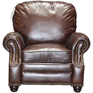 Barcalounger Longhorn II Leather Recliner Canyon Remy Chocolate Top Grain  Leather Chair With Espresso Wood Legs
