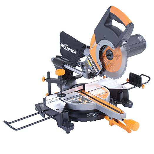 Evolution rage3 multipurpose sliding mitre saw 255 mm with evolution rage3 multipurpose sliding mitre saw 255 mm with accessory pack 230 v greentooth Images
