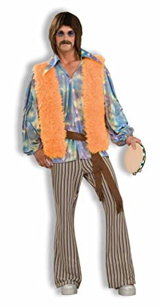 Amazon Com Men S 60 S Groovy Singer Costume Multi Colored One
