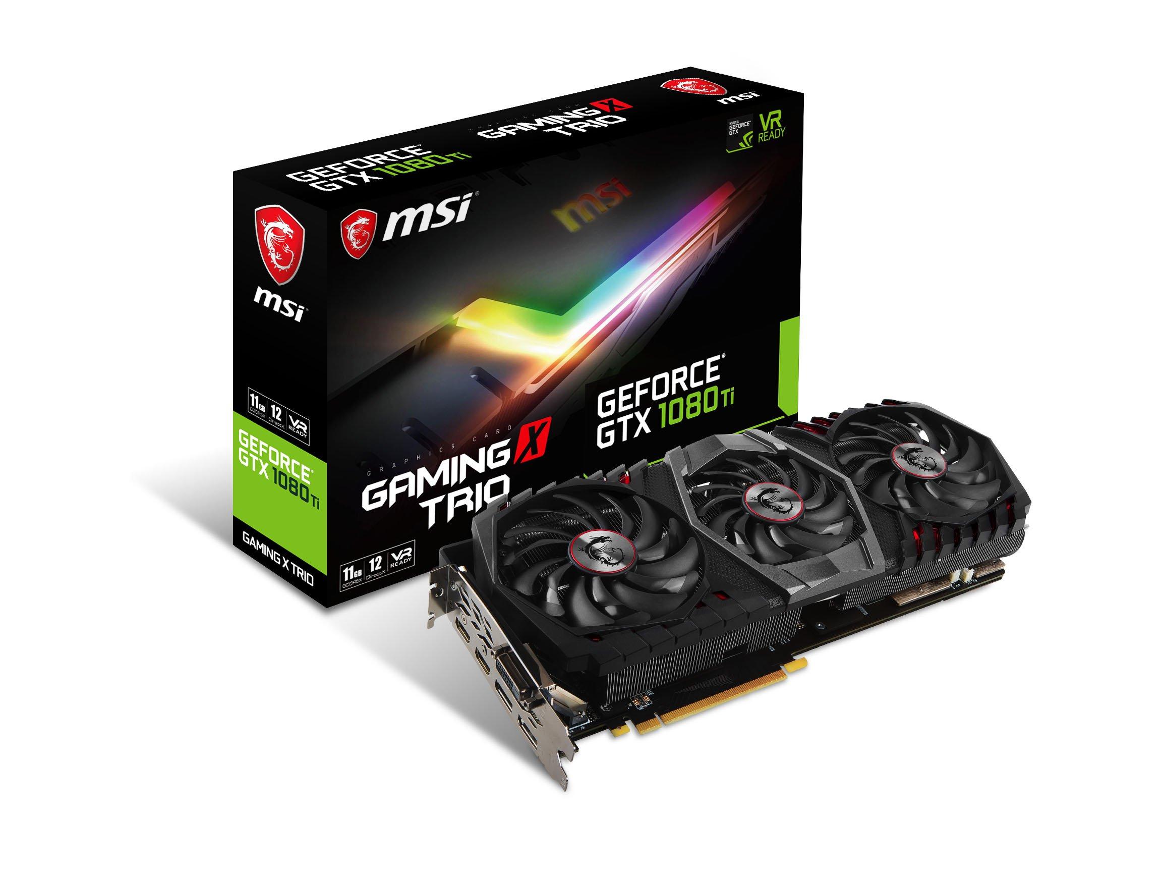 MSI GAMING GeForce GTX 1080 Ti 11GB GDDR5X 352-bit DirectX 12 VR Ready Graphics Card Black/Black (GTX 1080 TI GAMING X TRIO)